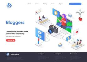 Bloggers isometric landing page