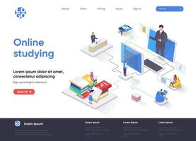 Online studying isometric landing page