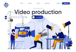 Video production flat landing page vector
