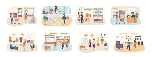 Shopping bundle of scenes with flat people characters