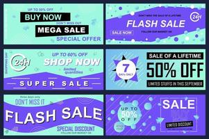 Set of sale banners for online shopping vector
