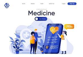 página de inicio plana de medicina