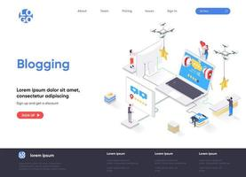 Blogging isometric landing page