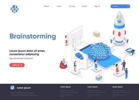 Brainstorming isometric landing page vector