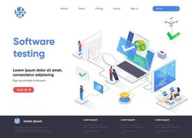 Software testing isometric landing page vector