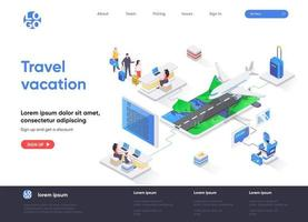 Travel vacation isometric landing page vector