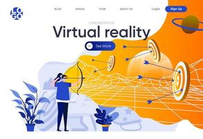 Virtual reality flat landing page vector