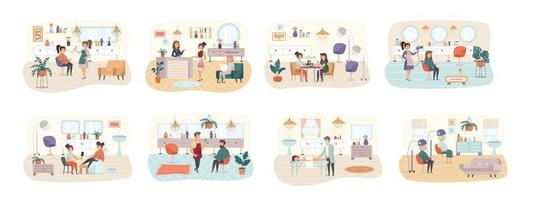 Beauty salon bundle of scenes with flat people characters
