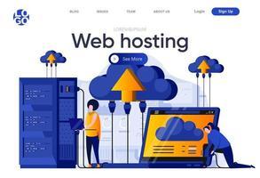Web hosting flat landing page vector