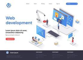 página de inicio isométrica de desarrollo web vector