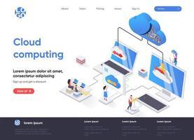 página de inicio isométrica de computación en la nube