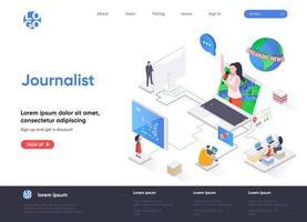 página de inicio isométrica del periodista