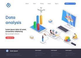 Data analysis isometric landing page vector