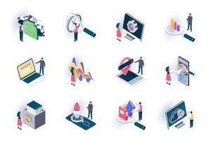 conjunto de iconos isométricos de optimización seo
