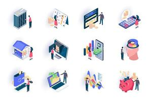 Banking service isometric icons set