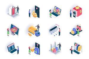 Online shopping isometric icons set