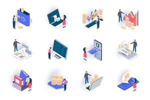 Business accounting isometric icons set vector
