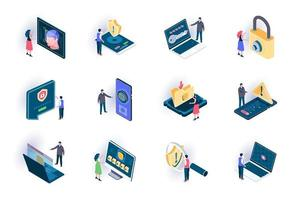 Cyber security isometric icons set vector
