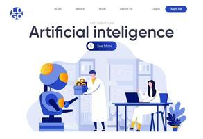 Artificial intelligence flat landing page vector