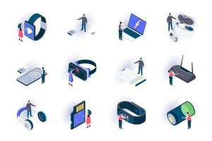 Technology devices isometric icons set vector