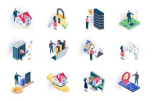 Real estate isometric icons set vector