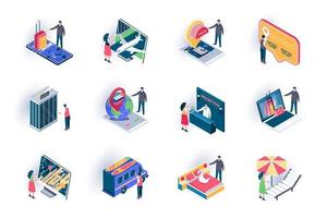 Travel vacation isometric icons set vector