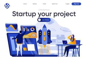 Startup your project flat landing page vector