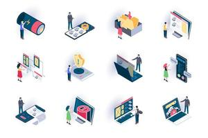User interface isometric icons set vector