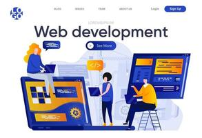 Web development flat landing page vector