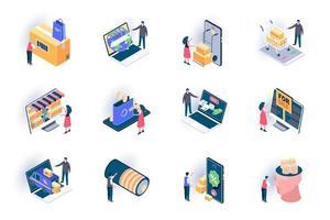Retail distribution isometric icons set vector
