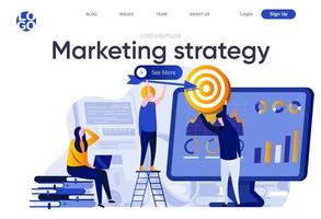Marketing strategy flat landing page vector