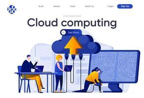 Cloud computing flat landing page vector