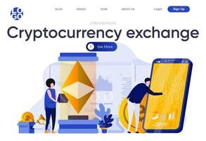 Cryptocurrency exchange flat landing page vector