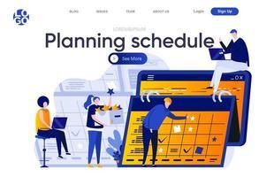 Planning schedule flat landing page vector