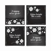 colección de tarjetas de estrellas plateadas