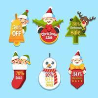 Cute Santa and Friends Label vector