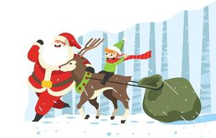 Santa And Friends Delivering Gifts vector