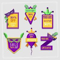 Happy Mardi Gras Sale Labels vector