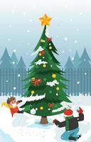 Fun Snow Fight Beside Huge Christmas Tree vector