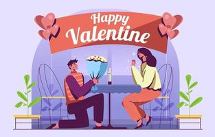 Love Surprise Couple on Valentine Day Illustration vector