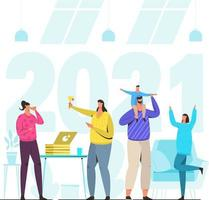 2021 Happy New Year People Party vector