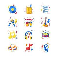 Live Music New Year Party Icon vector
