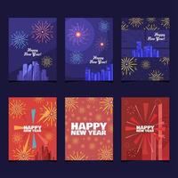Fireworks on Top Buildings Concept New Year Cards vector