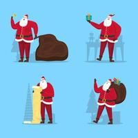 Santa Claus Collection with Happy Poses Character vector