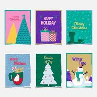 Colorful Textured Christmas Concept Cards vector