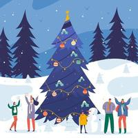 Snowy Outdoor Gathering Christmas Eve vector