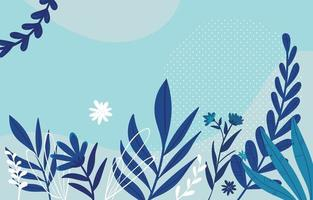 Blue Themed Floral Background with Plant vector