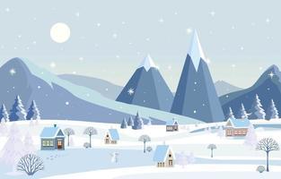 Village Scenery on Winter Season vector