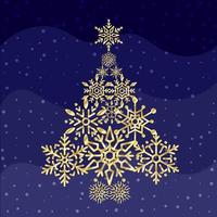 Snowflake Shaped Christmas-Tree with Blue Wave
