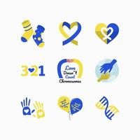 Set of Blue Yellow Down Syndrome Icon vector